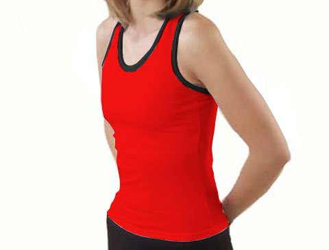 Pizzazz Performance Wear 9800T -REDBLK-2XL 9800T Adult Racer Back Top with Trim - Red with Black - 2XL