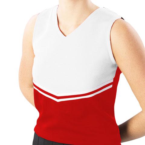 Pizzazz Performance Wear UT45 -REDWHT-2XL UT45 Adult V-Stripe Uniform Shell - Red with White - 2XL