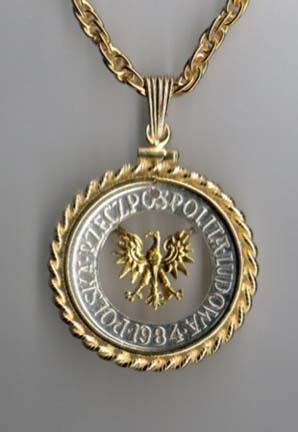 "Polish 5 Zlotych Two Tone Cut Out Coin Pendant with 18"" Chain"