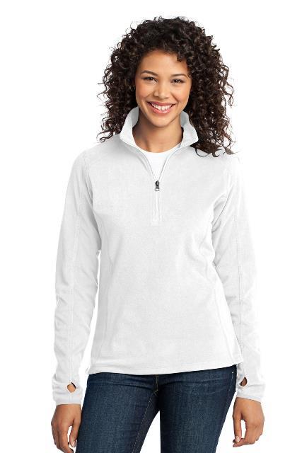 Port Authority L224 Ladies Microfleece 1 by 2-Zip Pullover White - Medium