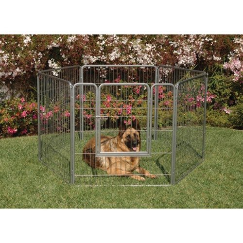 Precision Pet Products 1236-12576 38-Inch Courtyard Kennel Add-a-Panel - Silver Crackle - 2 Pieces