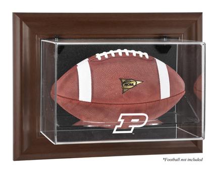 Purdue Boilermakers Brown Framed Wall Mountable Logo Football Display Case