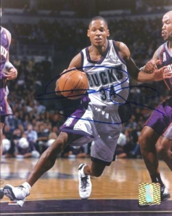 "Ray Allen ""Action"" Autographed Milwaukee Bucks 8"" x 10"" Photograph (Unframed)"