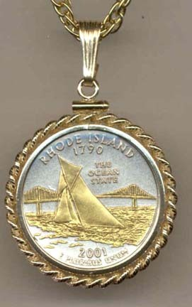 "Rhode Island Two Tone Rope Bezel Statehood Quarter with 18"" Rope Necklace"