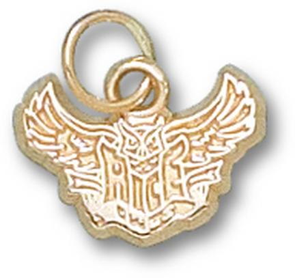 """Rice Owls New """"Rice Flying Owl"""" 3/8"""" Charm - 14KT Gold Jewelry"""