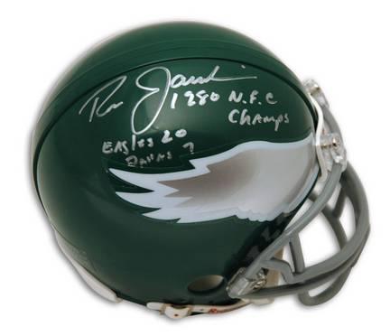 "Ron Jaworski Philadelphia Eagles Autographed Mini Helmet Inscribed with ""1980 NFC Champs"" & ""Eagles 20 Dallas 7"