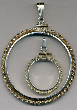 """Rope Style"""" Simulated Sterling Silver Coin Necklace Bezel / Pendant (Silver Dollar Size)"""