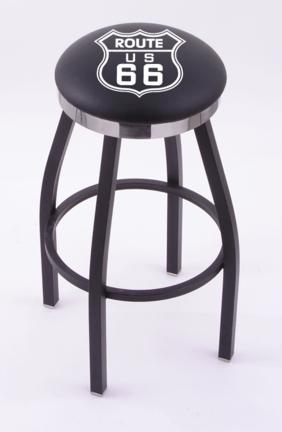 """Route 66"""" (L8B2C) 25"""" Tall Logo Bar Stool by Holland Bar Stool Company (with Single Ring Swivel Black Solid Welded Base)"""