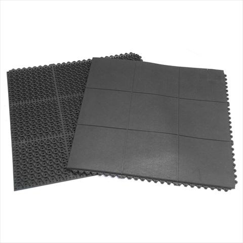 Rubber-Cal Revolution Interlocking Rubber Floor - Black 2 Pack 36 x 36 x 0.63 in.