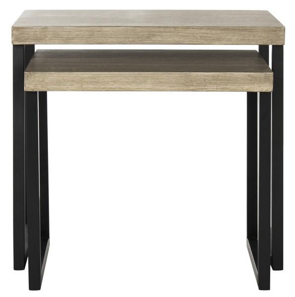 Safavieh FOX4266A Femi End Table Light Grey & Black