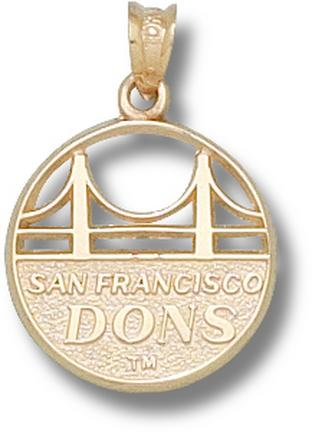 """San Francisco Dons """"Golden Gate Bridge with Dons"""" Pendant - 10KT Gold Jewelry"""