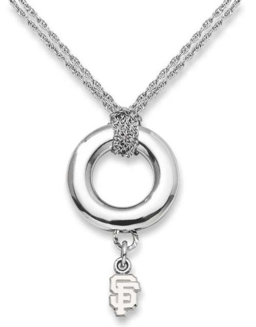 "San Francisco Giants 3/8"" Logo Sterling Silver Halo Necklace"