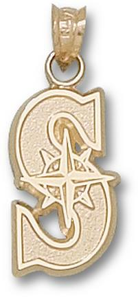 """Seattle Mariners """"S"""" 5/8"""" Pendant - 10KT Gold Jewelry"""