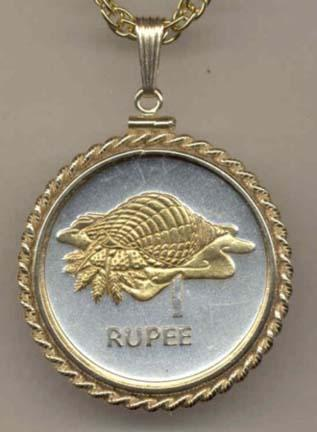 """Seychelles 1 Rupee """"Conch"""" Two Tone Gold Filled Rope Bezel Coin Pendant with 24"""" Chain"""