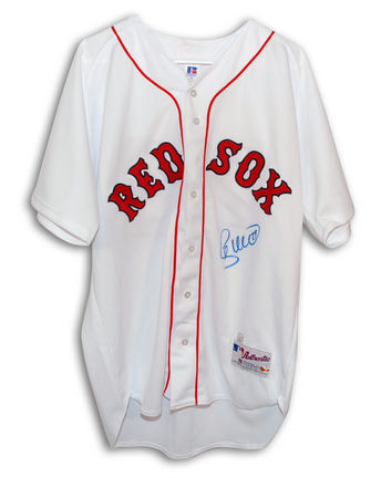 Shea Hillenbrand Boston Red Sox Autographed Authentic Russell Athletic MLB Baseball Jersey Signed in Blue Sharpie (White)