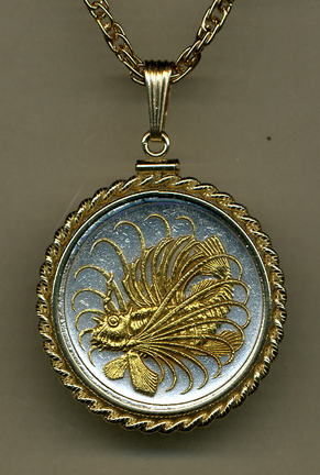 """Singapore 50 Cent """"Lionfish"""" Two Tone Gold Filled Rope Bezel Coin Pendant with 24"""" Chain"""