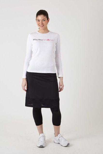 Snoga Athletics M6-BLK-XL Mesh Trim Pencil Skirt With Attached Legging & Side Zipper Detail Black - Extra Large