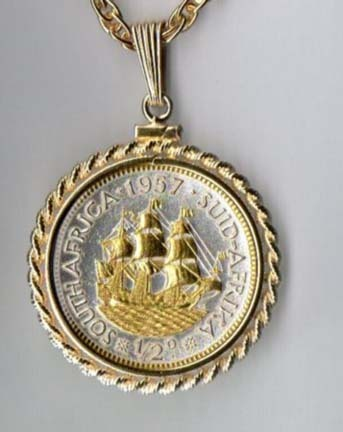 """South African Penny """"Sailing Ship"""" Two Tone Rope Bezel Coin Pendant with 18"""" Chain"""