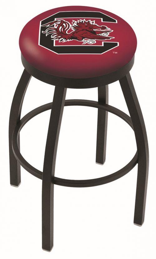 "South Carolina Gamecocks (L8B2B) 25"" Tall Logo Bar Stool by Holland Bar Stool Company (with Single Ring Swivel Black Solid Welded Base)"