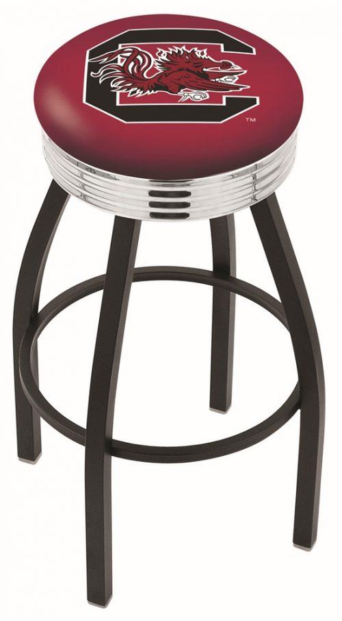 "South Carolina Gamecocks (L8B3C) 25"" Tall Logo Bar Stool by Holland Bar Stool Company (with Single Ring Swivel Black Solid Welded Base)"