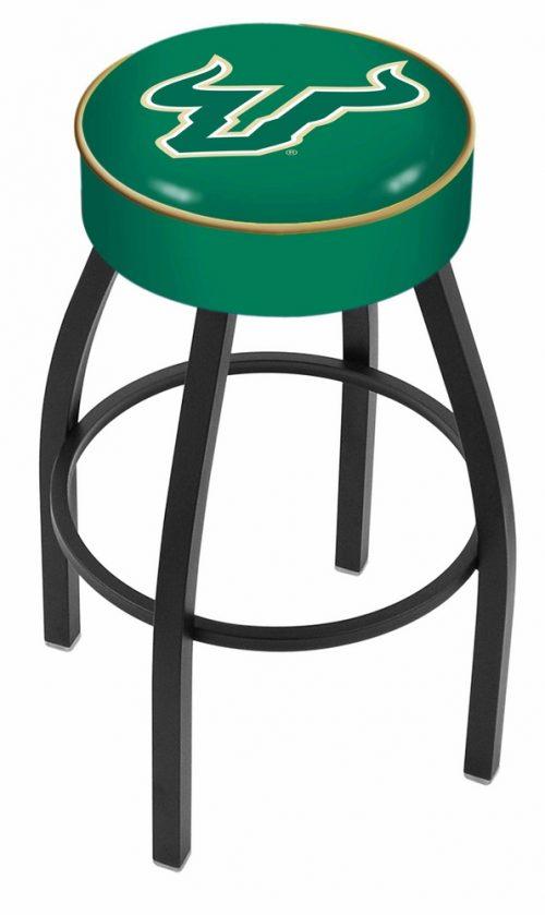 "South Florida Bulls (L8B1) 25"" Tall Logo Bar Stool by Holland Bar Stool Company (with Single Ring Swivel Black Solid Welded Base)"