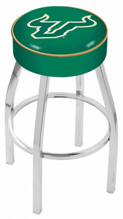 "South Florida Bulls (L8C1) 25"" Tall Logo Bar Stool by Holland Bar Stool Company (with Single Ring Swivel Chrome Solid Welded Base)"