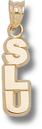 "Southeastern Louisiana Lions Vertical ""SLU"" Pendant - 14KT Gold Jewelry"
