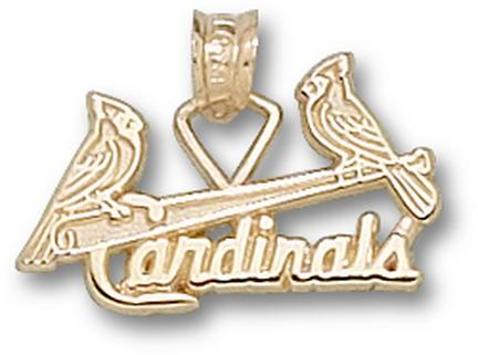 """St. Louis Cardinals 3/8"""" """"Two Birds and Bat"""" Pendant - 10KT Gold Jewelry"""