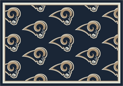 """St. Louis Rams 3' 10"""" x 5' 4"""" Team Repeat Area Rug (Navy Blue)"""