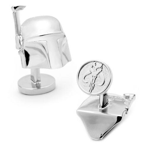 Star Wars 3-D Boba Fett Helmet Palladium Plated Cuff Links - 1 Pair
