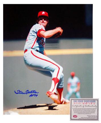"Steve Carlton Philadelphia Phillies MLB Autographed ""Pitching"" 16"" x 20"" Photograph with ""HOF 94"" Inscription (Unframed)"
