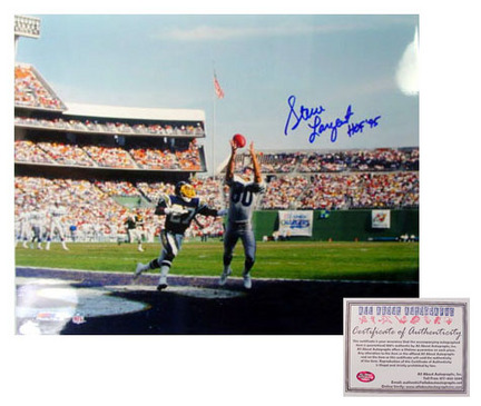 "Steve Largent Seattle Seahawks NFL Autographed ""Touchdown"" 16"" x 20"" Photograph with ""HOF 95"" Inscription (Unframed)"
