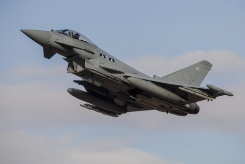 StockTrek Images PSTTZG100505M A Royal Air Force Typhoon Fighter Jet Taking Off During Natos Exercise Trident Juncture Albacete Spain Poster Print 16 x 11
