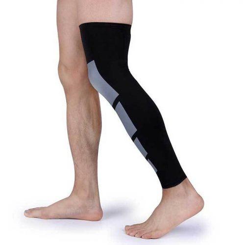 Tagco USA EF-RONSA-BLA-M Unisex Full-Length Knee & Calf Compression Sleeves Black - Small & Medium Pack of 2