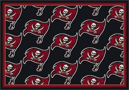 "Tampa Bay Buccaneers 3' 10"" x 5' 4"" Team Repeat Area Rug (Black)"