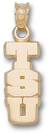 "Tarleton State Texans Vertical ""TSU"" Pendant - 10KT Gold Jewelry"