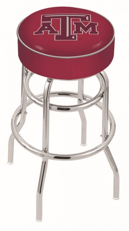 "Texas A & M Aggies (L7C1) 30"" Tall Logo Bar Stool by Holland Bar Stool Company (with Double Ring Swivel Chrome Base)"