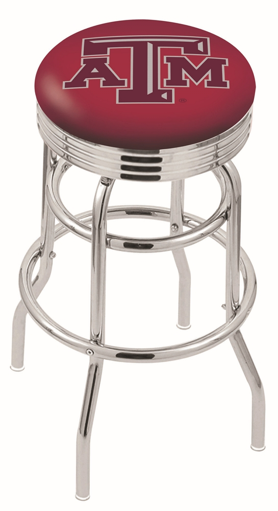 "Texas A & M Aggies (L7C3C) 30"" Tall Logo Bar Stool by Holland Bar Stool Company (with Double Ring Swivel Chrome Base)"