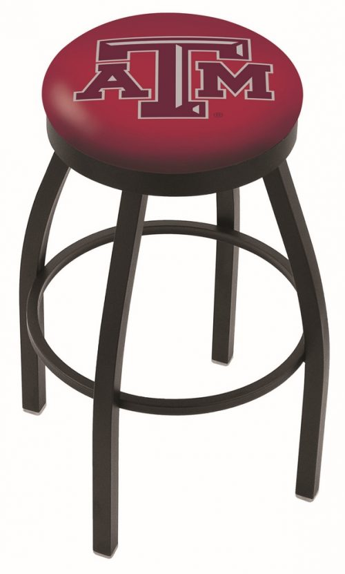 "Texas A & M Aggies (L8B2B) 30"" Tall Logo Bar Stool by Holland Bar Stool Company (with Single Ring Swivel Black Solid Welded Base)"