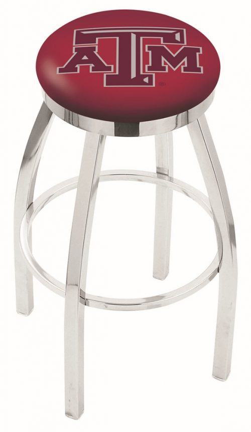 """Texas A & M Aggies (L8C2C) 30"""" Tall Logo Bar Stool by Holland Bar Stool Company (with Single Ring Swivel Chrome Solid Welded Base)"""