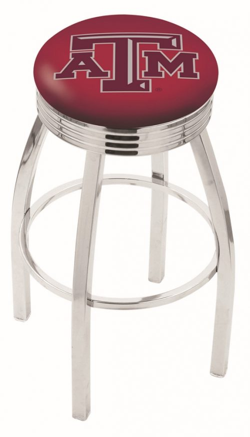 """Texas A & M Aggies (L8C3C) 25"""" Tall Logo Bar Stool by Holland Bar Stool Company (with Single Ring Swivel Chrome Solid Welded Base)"""