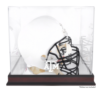 Texas A & M Aggies Mahogany Logo Football Helmet Display Case with Mirror Back