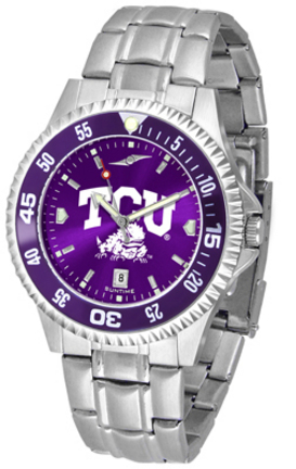 Texas Christian Horned Frogs Competitor AnoChrome Men's Watch with Steel Band and Colored Bezel