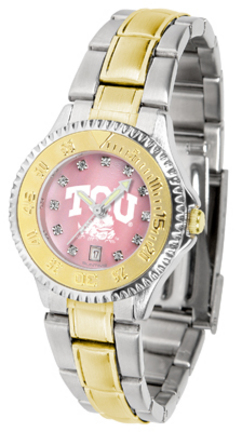 Texas Christian Horned Frogs Competitor Ladies Watch with Mother of Pearl Dial and Two-Tone Band