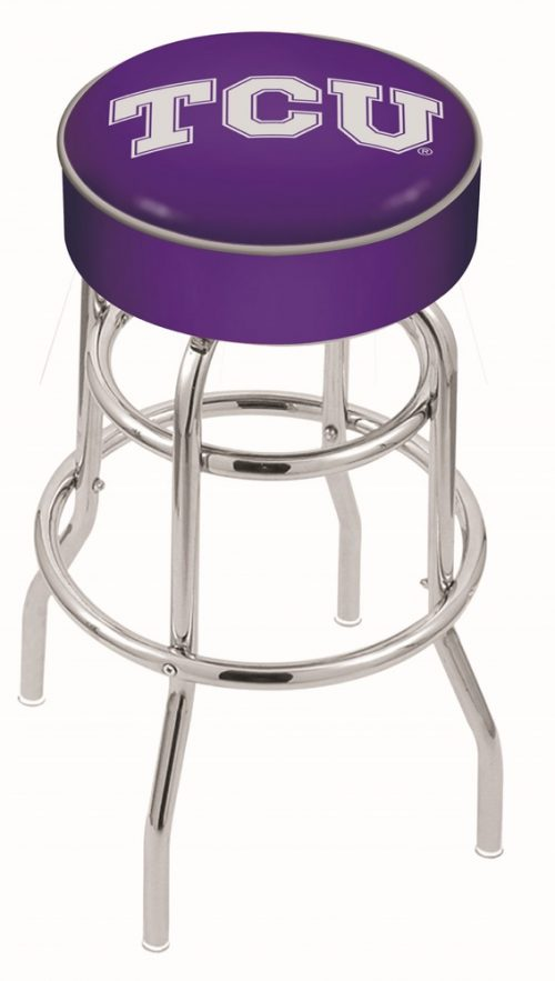 """Texas Christian Horned Frogs (L7C1) 30"""" Tall Logo Bar Stool by Holland Bar Stool Company (with Double Ring Swivel Chrome Base)"""