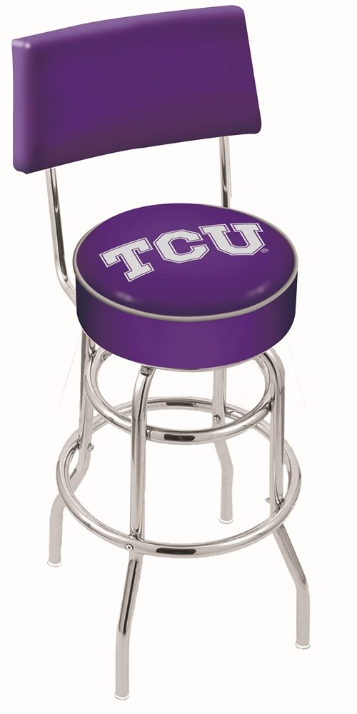 """Texas Christian Horned Frogs (L7C4) 25"""" Tall Logo Bar Stool by Holland Bar Stool Company (with Double Ring Swivel Chrome Base and Chair Seat Back)"""