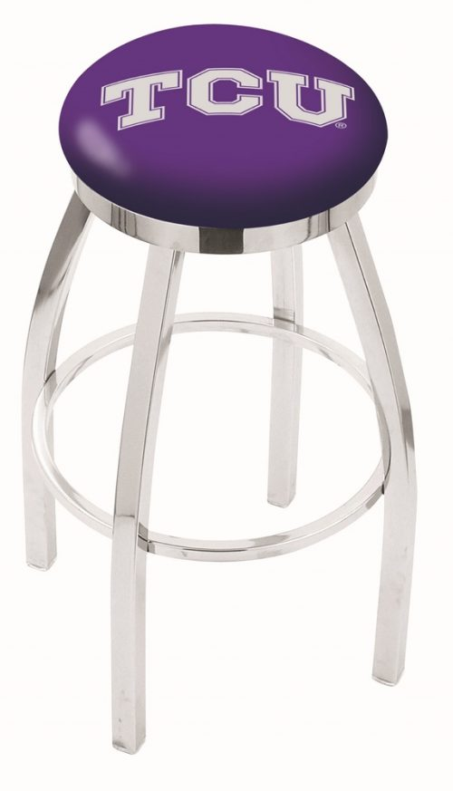 """Texas Christian Horned Frogs (L8C2C) 25"""" Tall Logo Bar Stool by Holland Bar Stool Company (with Single Ring Swivel Chrome Solid Welded Base)"""