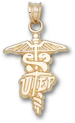 "Texas (El Paso) Miners ""UTEP Caduceus"" Pendant - 10KT Gold Jewelry"
