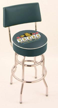 """Texas Hold Em"""" (L7C4) 30"""" Tall Logo Bar Stool by Holland Bar Stool Company (with Double Ring Swivel Chrome Base and Chair Seat Back)"""
