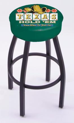 """Texas Hold Em"""" (L8B1) 30"""" Tall Logo Bar Stool by Holland Bar Stool Company (with Single Ring Swivel Black Solid Welded Base)"""